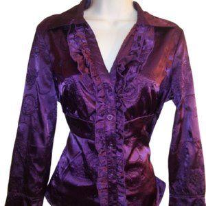 Terra Nostra Purple Satin Blouse Medium